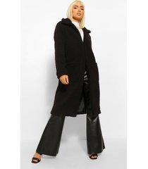 lange faux fur teddy jas, black