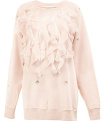 faith connexion ruffled applique sweatshirt - pink