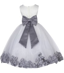 satin bodice floral lace ivory flower girl dress bridesmaid wedding pageant 165t