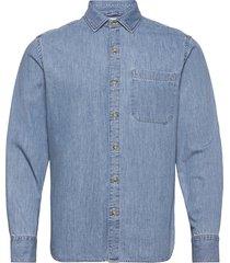 chambre skjorta casual blå mango