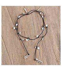 cultured pearl wrap necklace, 'rustic treasure in black' (mexico)