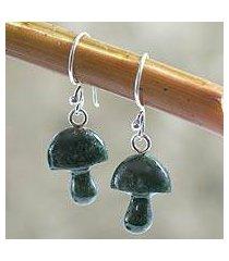 jade dangle earrings, 'dancing green mushrooms' (guatemala)