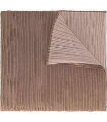 issey miyake pre-owned two-tone pleated scarf - brown