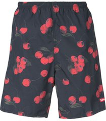 supreme cherry-print shorts - black