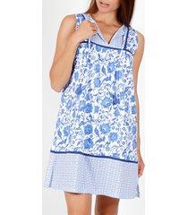 pyjama's / nachthemden admas mouwloze zomerjurk etienne blauw