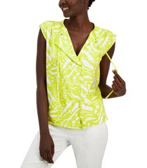 alfani abstract-print drawstring-neck top, created for macy's