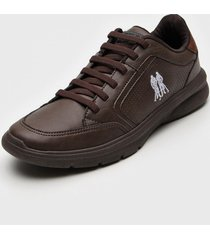 sapatênis polo wear logo marrom