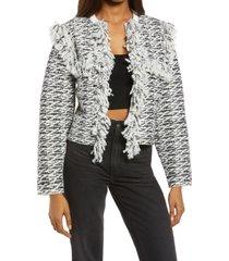 women's allsaints ashley tassel tweed jacket, size medium - white