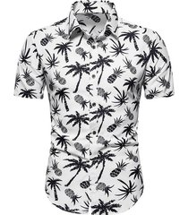 palm tree pineapple print beach shirt