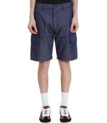 loewe shorts in blue cotton