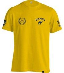 camiseta fórmula retrô lotus camel ano 1987 amarelo
