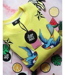 żółta bluza z jaskółkami stars and sparrows