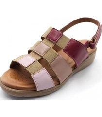 sandalia cuero rosa be flex