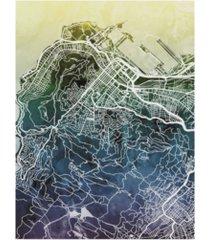 """michael tompsett cape town south africa city street map blue yellow canvas art - 37"""" x 49"""""""