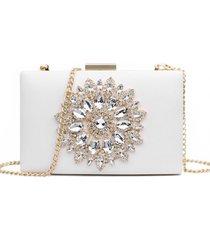 bolsa clutch liage festa bordada pedra brilhante cristal strass pedraria metal dourada e branca off-white - kanui