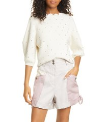 women's rebecca taylor embellished cotton blend sweater