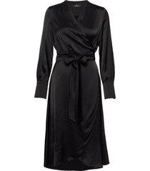 aurelie wrap dress knälång klänning svart morris lady