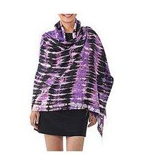tie-dye silk shawl, 'purple monarch' (thailand)
