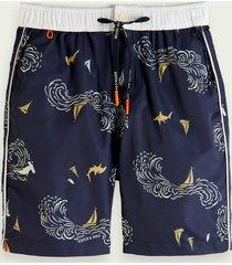 scotch & soda longer length printed swim shorts
