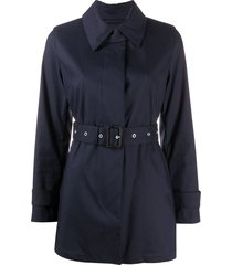 mackintosh short roslin belted trench coat - blue