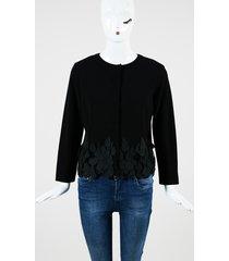 giambattista valli black double knit teardrop lace fringed jacket black sz: s