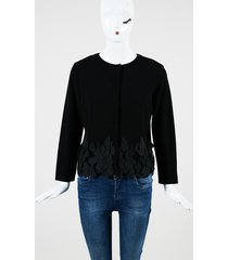 black double knit teardrop lace fringed jacket