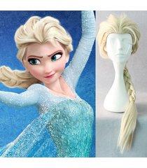 fashion frozen elsa wig adult blonde ponytail princess costume cos hair braids