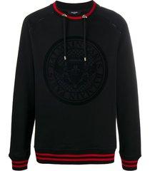 balmain drawstring neckline logo sweatshirt - black
