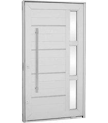 porta pivotante lambris horizontais com friso, vidro e puxador alumínio branco 223,5x126,2x12cm esquerda aluminium - 72440102 - sasazaki - sasazaki