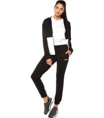 sudadera  negra/blanco adidas performance wts lin ft