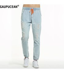 pantalones vaqueros gaupucean para hombre-azul claro