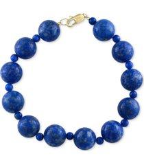 effy lapis lazuli (4 & 12mm) beaded bracelet in 14k gold