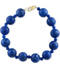 effy lapis lazuli (4 & 12mm) beaded bracelet in 14k gold
