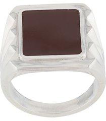 bottega veneta antique-effect chevalier ring - silver