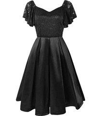 sweetheart neck lace bodice butterfly sleeve dress