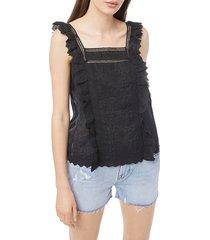 frame women's katie lace top - noir - size xs