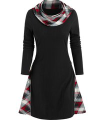 plaid print ribbed convertible sweater dress