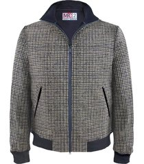 blue houndstooth checked mid season jacket wool effect