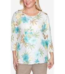 alfred dunner three quarter sleeve tropical animal print knit top