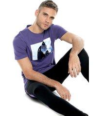 camiseta violeta-multicolor jack & jones