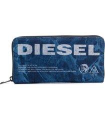 diesel logo embroidered wallet - blue