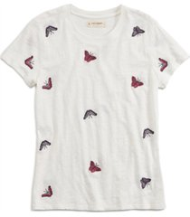 lucky brand all over butterfly embroidered t-shirt