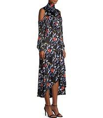 silk high-low cold shoulder floral dress