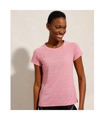 camiseta de poliamida esportiva ace com micro furos manga curta decote redondo rosa