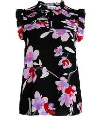 calvin klein women's floral ruffle tieneck sleeveless top - black wisteria multicolor - size xs