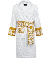 versace barocco terry robe, size 3x-large - white