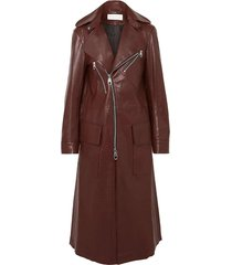 zip-detailed leather coat