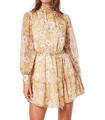 minkpink dacey smocked-neck mini dress