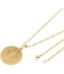 kit medalha são bento tudo joias com corrente cartier longa 2mm e 60cm folheado a ouro 18k