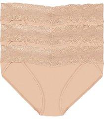 natori bliss perfection one-size v-kini 3 pack, cafe panty underwear intimates, women's, beige, microfiber natori
